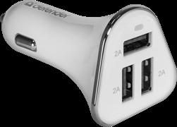 (220404)  Автомобильное зарядное устройство Defender UCA-04, 3*USB, 6А (83566)
