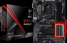 (1014015) Материнская плата Asrock B450 Gaming K4 Soc-AM4 AMD B450 4xDDR4 ATX AC`97 8ch(7.1) GbLAN RAID+VGA+HDMI+DP