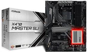 (1014216) Материнская плата Asrock X470 MASTER SLI Soc-AM4 AMD X470 4xDDR4 ATX AC`97 8ch(7.1) GbLAN RAID+HDMI