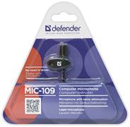 (202423)  Микрофон Defender MIC-109 черный, на прищепке
