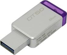 (1014349) Флеш Диск Kingston 8Gb DataTraveler 50 DT50/8GB USB3.0 серебристый