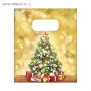 Пакет подарочный полиэтиленовый «Золотая ёлка», 17 × 20 см