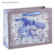 Пакет крафтовый горизонтальный «Зимний пейзаж», 15 × 12 × 5,5 см