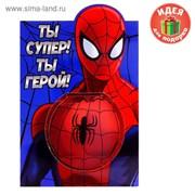 """Блокнот в открытке """"Ты супер! Ты герой!"""", Человек Паук 1154293"""