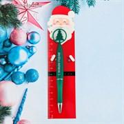 """Ручка с линейкой """"Счастливый Дед Мороз""""   3580030"""