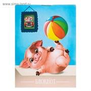 блокнот А7 40л на скрепке Calligrata Свинка с мячом карт хром   3804034