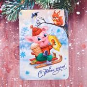 """Карманный календарик """"С Новым Годом! Ретро"""", 5 шт, 10 х 7 шт   3590405"""