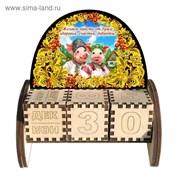 Вечный календарь «Свинки», хохлома, 10,5×10×5 см 3666697