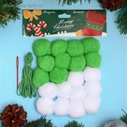 """Набор для создания праздничной гирлянды """"Новый год"""" игла пластик, цвет белый, зеленый   3785832"""