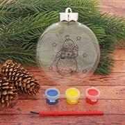 """Новогоднее елочное украшение под раскраску """"Шар со Снеговиком"""" размер шара 3*10*11 см + краски 3 цве"""