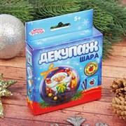 """Набор для декупажа новогоднего шара """"Дед Мороз""""+ стразы, лента атласная, клей 2346389"""