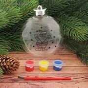 """Новогоднее елочное украш под раскрас """"Шар с Дедом морозом 2"""" размер шара 3*10*11 см + краски 2291367"""