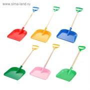 Лопатка пластмассовая с деревянной ручкой, цвета МИКС