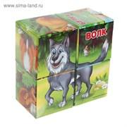 Кубики «Лесные животные» картон, 4 штуки
