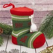 """Подарочная упаковка """"Сапожок"""" вязаный носок с помпонами"""