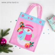 "Сумочка ""Новогодняя"" Снеговик с подарком, размер 24 х 29 см"