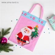 """Сумочка """"Новогодняя"""" Дед Мороз и ёлочка, размер 24 х 29 см"""