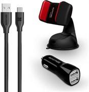 (1014412) АЗУ Promate AutoKit-HM 2 USB port, 3.1A + кабель Type-C + универсальный автодержатель (black)