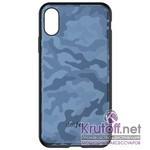 (1014408) Накладка Dotfes G07 Camouflage Style Case для iPhone X/XS (blue)