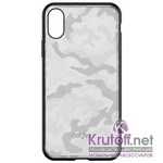 (1014406) Накладка Dotfes G07 Camouflage Style Case для iPhone X/XS (silver)