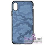 (1014404) Накладка Dotfes G07 Camouflage Style Case для iPhone XS Max (blue)