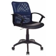 (1014505) Кресло Бюрократ CH-590/BL/BLACK спинка сетка синий сиденье черный искусственная кожа