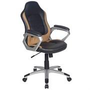 (1014558) Кресло руководителя Бюрократ CH-825S/BLACK+BG вставки бежевый сиденье черный искусственная кожа (пла