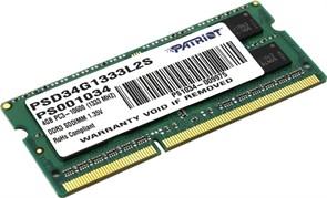 (1015268) Модуль памяти для ноутбука 4GB PC10600 DDR3 SO PSD34G1333L2S PATRIOT