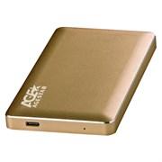 "(1015320) Внешний корпус для HDD AgeStar 31UB2A16C SATA алюминий золотистый 2.5"""