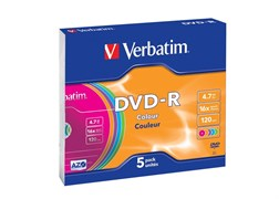 (3330118) DVD-R Verbatim 4.7ГБ, 16x, Slim Case, Color, записываемый DVD диск