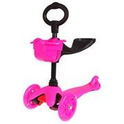 (1015536) Самокат - каталка стальной OT-2014/033, три колеса PU d= 125 и 80 мм, цвет розовый 134336 2885000