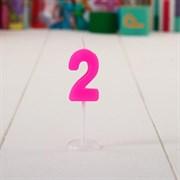 "(1015402) Свеча цифра мини на открытке ""2 года"", Принцессы: Золушка, 14 х 12 см 1440925"