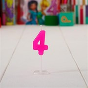 "(1015406) Свеча цифра мини на открытке ""4 года"", Принцессы: Рапунцель, 14 х 13 см 1440932"
