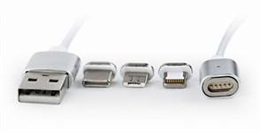 (1016071) Кабель магнитный USB 2.0 Cablexpert CC-USB2-AMLM31-1M, AM/TypeC - microBM 5P - iPhone lightning, комбо кабель, 1м, алюминиевые разъемы, коробка