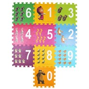 "(781644) Коврик-пазл ""Маша и медведь"" с вырезными цифрами, 100 х 100 см 781644"