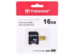 (1016180) Флеш карта microSDHC 16Gb Class10 Transcend TS16GUSD500S 500S w/o adapter