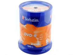 (1016229) Диск DVD-R Verbatim 4.7Gb 16x Cake Box (100шт) (43549)