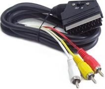 (1016432) Кабель аудио/видео Cablexpert CCV-519-001, SCART / 3xRCA, с переключателем направления сигнала, 1.8м