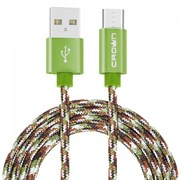 (1016591) Кабель Crown USB - microUSB CMCU-3092M military; круглый; в тканевой оплётке; коннекторы Метал; ток 2А; 100 см; цвет хаки