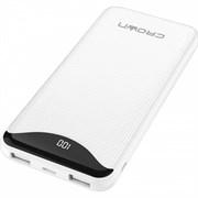 (1016589) Зарядное устройство CROWN CMPB-603 white (power bank, 10000mAh, Li-Pol, входы: micro-USB/typec-C - выходы: 2*USB(A)+type-C QC3.0, PD18W, цифровой дисплей)
