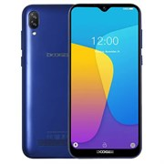 "(1016990) Смартфон Doogee X90 Blue, 6.1'' 19:9 600x1280, 1.3GHz, 4 Core, 1GB RAM, 16GB, up to 128GB flash, 5Mpix+8Mpix/5Mpix, 2 Sim, 2G, 3G, BT, Wi-Fi, GPS, Micro-USB, 3400mAh, Android 9.0 (Pie), 150g, 153.9x72.8x9.9, ""Waterdrop"" Screen, Face Unlock"