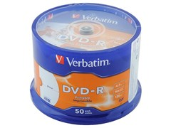 (1017150) Диск DVD-R Verbatim 4.7Gb 16x Cake Box (50шт) Printable (43533)