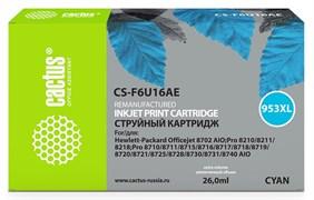 (1017153) Картридж струйный Cactus 953XL CS-F6U16AE голубой (26мл) для HP OJ Pro 7740/8210/8218/8710/8715