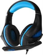(1017809) Гарнитура игровая с подсветкой CROWN CMGH-2101 Black&blue (Виртуальный звук 7.1, Подключение USB, Частотный диапазон: 20Гц-20,000 Гц , Кабель 3.2м, Динамки 50 мм, регулировка громкости, микрофон на поворотной ножке)
