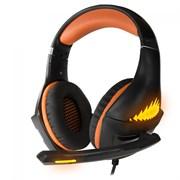 (1017810) Гарнитура игровая с подсветкой CROWN CMGH-2103 Black&orange (Виртуальный звук 7.1, Подключение USB, Частотный диапазон: 20Гц-20,000 Гц , Кабель 3.2м, Динамки 50 мм, регулировка громкости, микрофон на поворотной ножке)