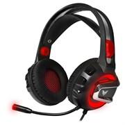 (1017811) Гарнитура игровая с подсветкой CROWN CMGH-3000 Black&red (Подключение jack 3.5мм 4pin + адаптер 2*jack spk+mic + USB для подсветки,Частотный диапазон: 20Гц-20,000 Гц ,Кабель 3.2м, Динамки 50мм, регулировка громкости на чашке+пульте, микроф