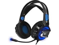 (1017812) Гарнитура игровая с подсветкой CROWN CMGH-3001 Black&blue (Подключение jack 3.5мм 4pin + адаптер 2*jack spk+mic + USB для подсветки,Частотный диапазон: 20Гц-20,000 Гц ,Кабель 3.2м, Динамки 50мм, регулировка громкости на чашке+пульте, микро