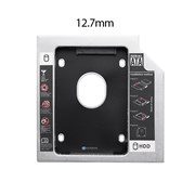 """(1018578) Адаптер оптибей универсальный NNC 12,7 mm, алюминиевый, OEM (optibay, hdd caddy) SATA / miniSATA (SlimSATA) для подключения HDD / SSD 2,5"""" к ноутбуку"""
