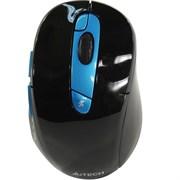(1019597) Мышь A4 G11-570FX черный/синий оптическая (2000dpi) беспроводная USB (7but)