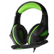 (1019663) Гарнитура игровая CROWN CMGH-2002 Black&green (Подключение jack 3.5мм 4pin + адаптер 2*jack spk+mic,Частотный диапазон: 20Гц-20,000 Гц ,Кабель 3.2м, Динамки 50мм, регулировка громкости, микрофон на поворотной ножке)